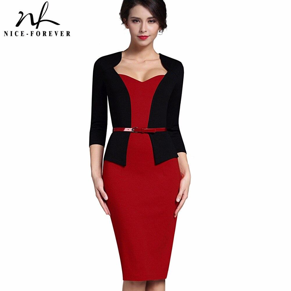 Nice-forever Stylish One-piece Faux Jacket Elegant V-neck Work dress Office Bodycon Female 3/4 Sleeve Sheath Woman Dress B328