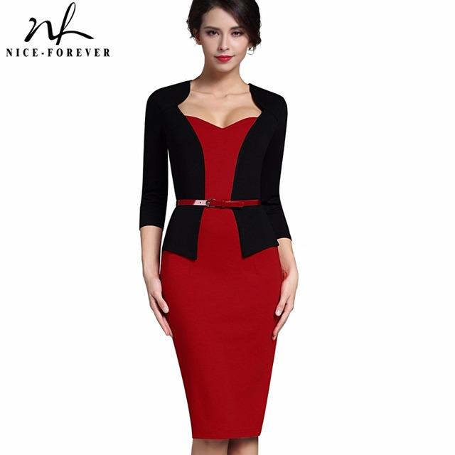 Nice-para sempre elegante one-piece casaco faux elegante v-neck trabalho dress escritório bodycon fêmea 3/4 manga bainha da mulher dress b328