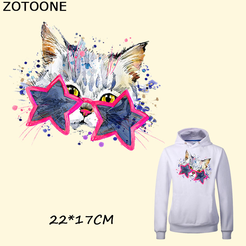 ZOTOONE Star Cat Ironing Patches Transfers Heat Press Stickers for Cartoon Animal Patch DIY Accessory Appliques Parent-child