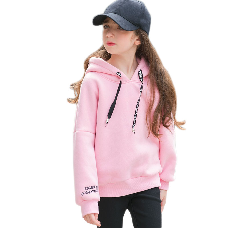 6 7 8 9 10 11 12 13 14 15 16 Years Old Teenage Girl Hoodies Winter Candy Color Sweatshirt Sweater With Fleece Hooded Kid Clothes hustler платье розовое ультракороткое