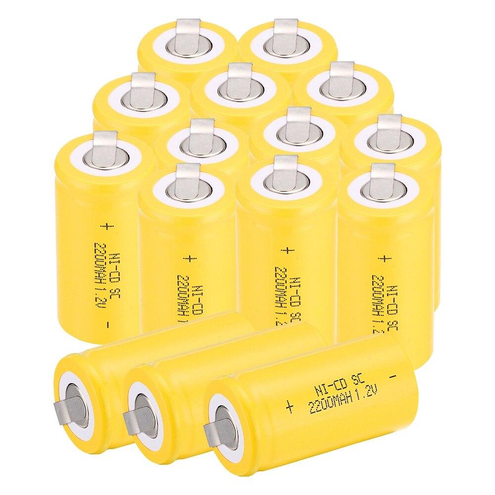 ¡De alta calidad! 17 piezas Ni Cd NiCd 4,25 CM * 2,2 CM C SC batería de 1,2 V 2200 mAh batería recargable de la batería-in baterías digitales from Productos electrónicos    1