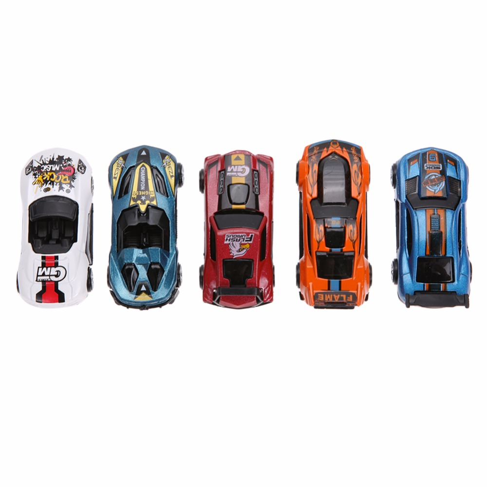 5Pcs/Lot 1:64 Scale Alloy Racing Car Models Toy Mixed Color Cool Children Mini Table Car Models Toy Set For Boys Birthday Gift