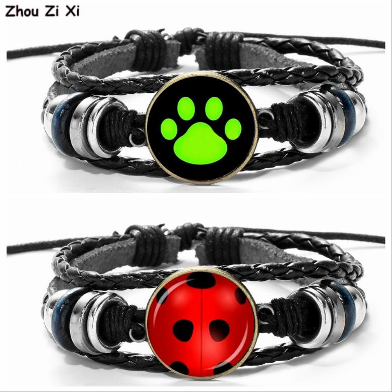 Popular Dog And Cat PAWS Ladybug Girl Black Cat Noel Green Time Jewel Leather Bracelet Toys