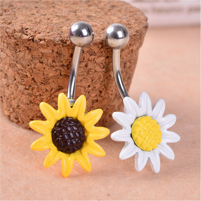 HTB1yUKWIVXXXXaNXpXXq6xXFXXXK Stainless Steel Sun Flower Belly Button Ring - 2 Colors