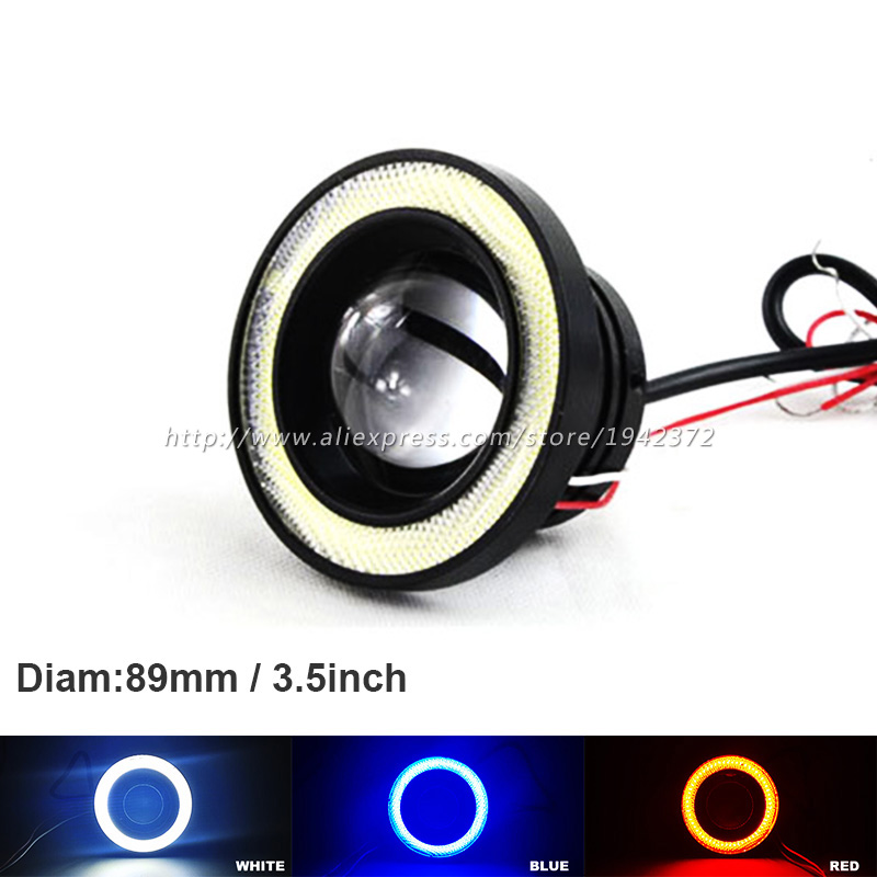 2x 30W 3.5 inch 3.5'' 89mm Led COB White Fog Lamp Car Auto Blue/White Angel Eyes Light with Lens DC12V Led Daytime Running Light 55w 3000k 1100 lumen 1 led warm white car fog halogen lamps w blue light angel eyes dc 12v pair