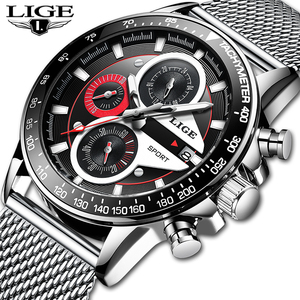 Image 2 - LIGE Fashion Men Watches Male Creative Business Chronograph Quartz Clock Stainless Steel Waterproof Watch Men Relogio Masculino