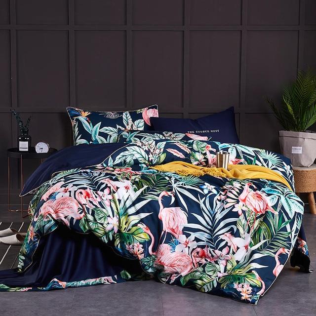 Luxury Egyptian Cotton Bedding Flamingo Set Duvet Cover Sheet Pillowcase King Queen Size Fashion color Bed Linen