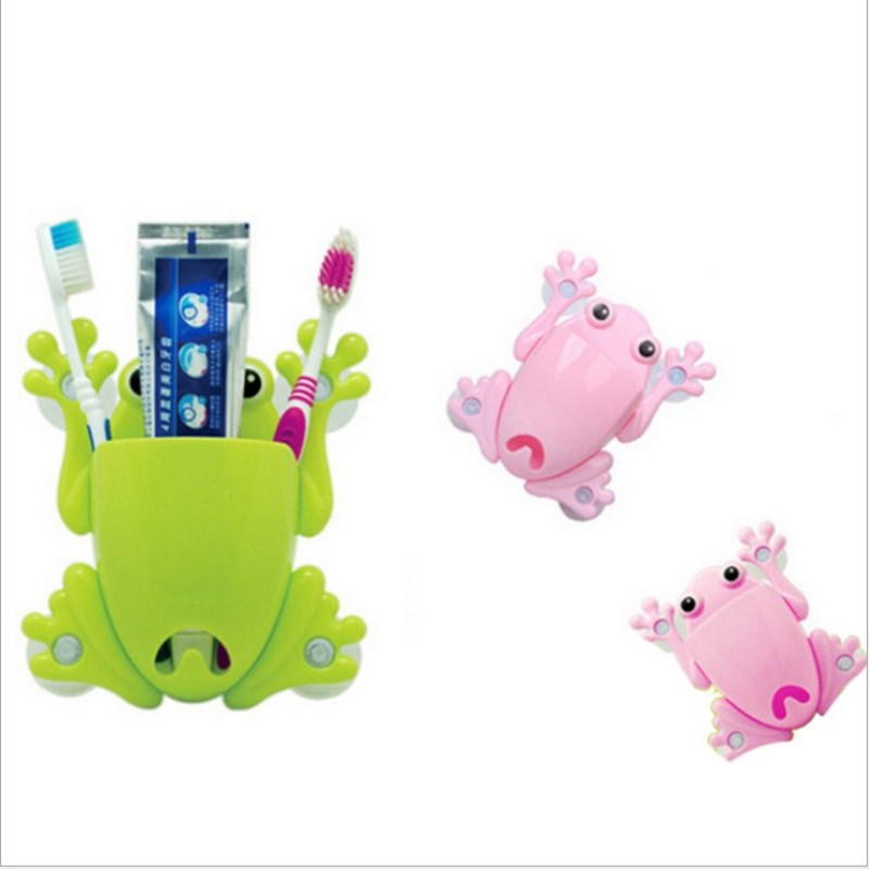 Cartoon Toothbrush Holder Wall Suction Cups Storage Box Cute Sucker Toothbrush Holder Suction Bathroom Accessories Bathroom Set