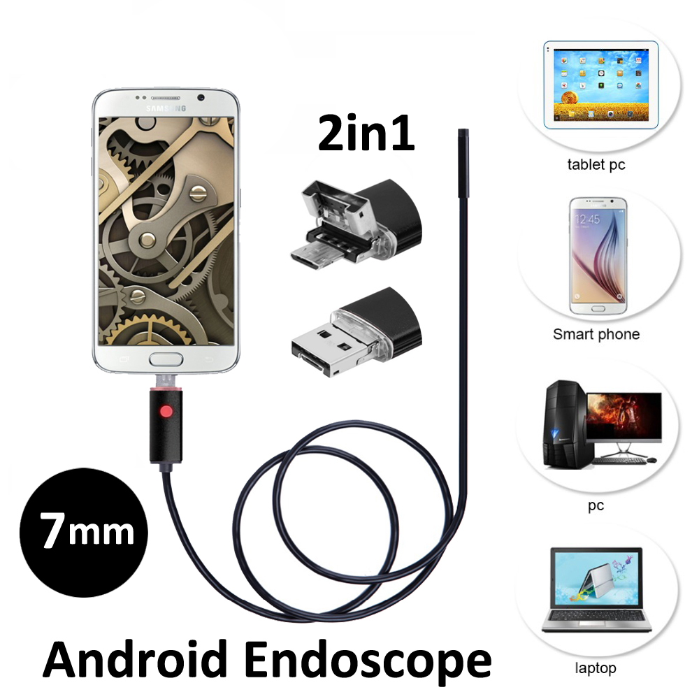 Hotsales 7mm 2in1 Android USB Endoscope Camera 2M 5M Smart Android Phone OTG USB Borescope Snake Tube Inspection Camera 6PC LED 2m diameter 7mm 1 3 mega pixels hd usb endoscope camera for android smart phone