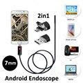 2016 Nova 7mm 2em1 Android USB Endoscópio Camera 2 M 5 M Inteligente Android OTG Telefone USB Endoscópio Snake Inspeção Tubo Veio 6 PC LEVOU