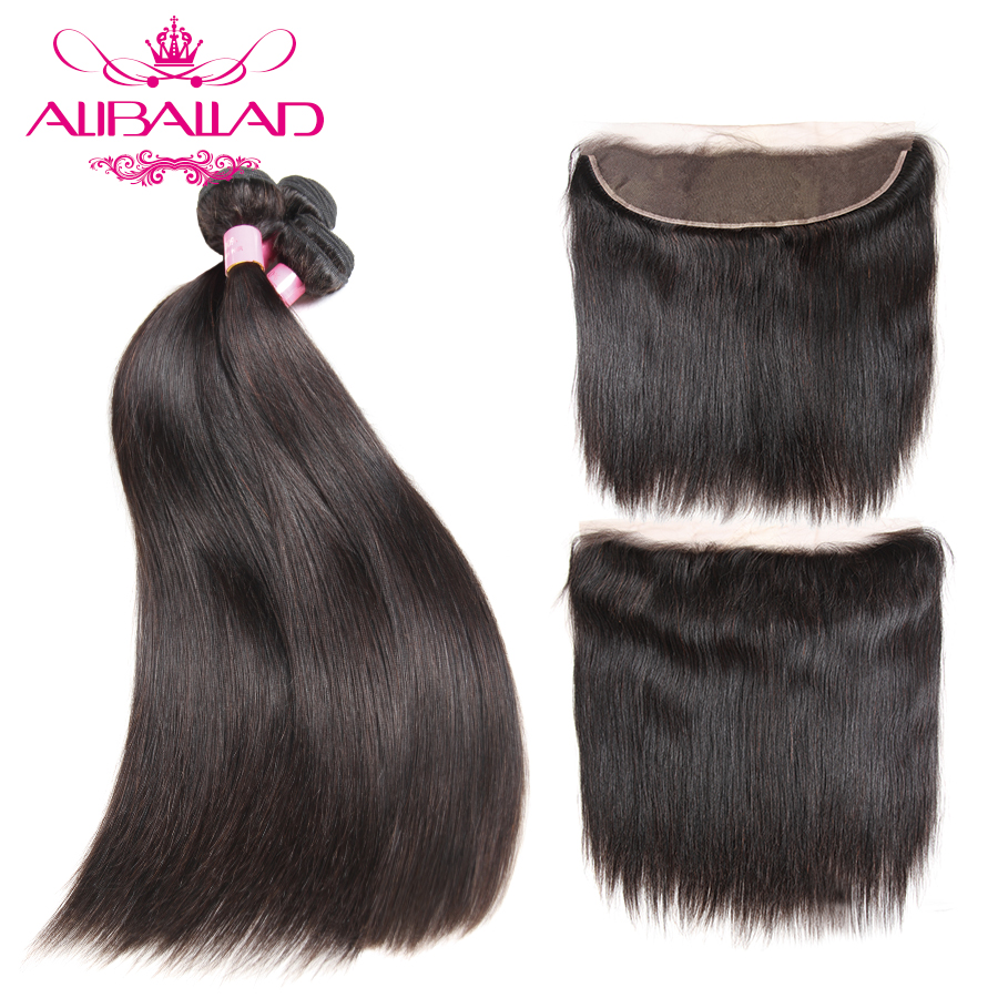 Aliballad Malaysian Straight Hair Bundles With Ear To Ear Lace Frontal 13x4 Inch Non Remy Human
