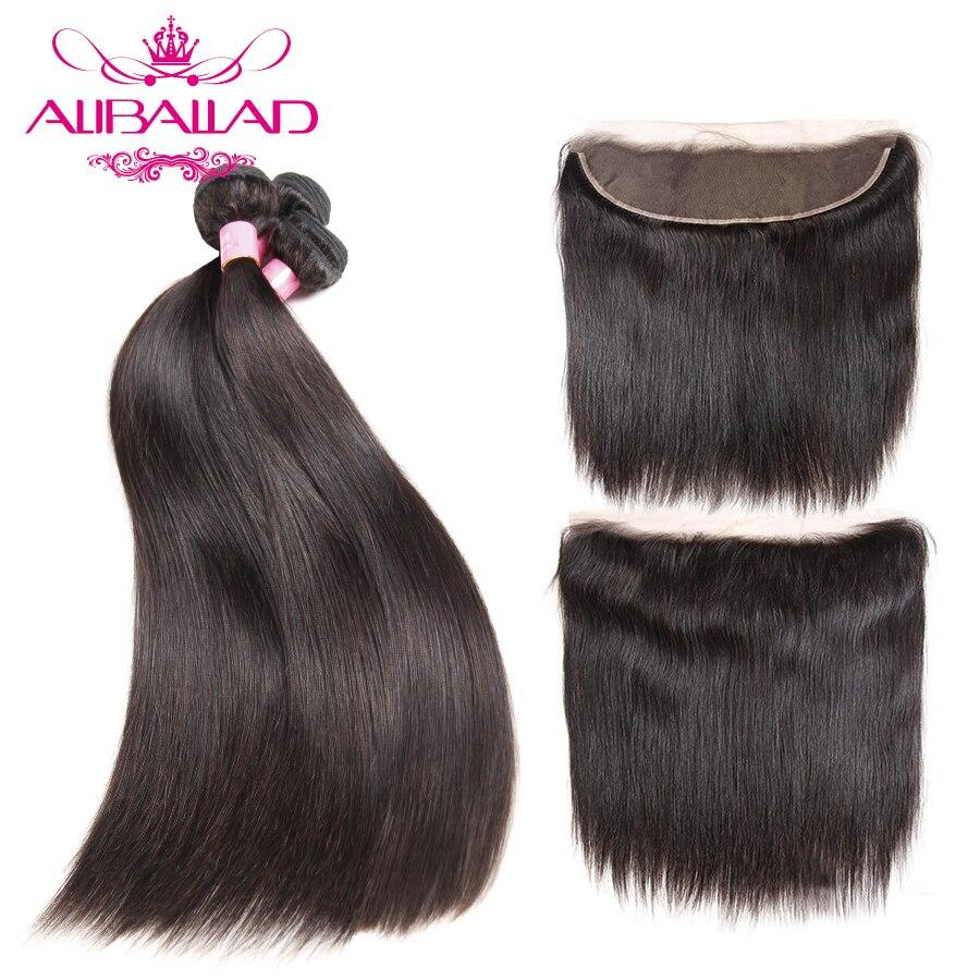 Aliballad малайзийские прямые волосы пучки с уха до уха кружева фронтальной 13x4 дюймов Номера для человеческих волос 3 связки с кружевом фронталь...