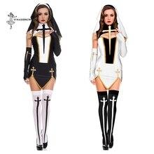 Halloween cosplay trajes sexy freira traje conjunto adulto feminino filme freira uniforme graças vestido de festa para a senhora palco desempenho