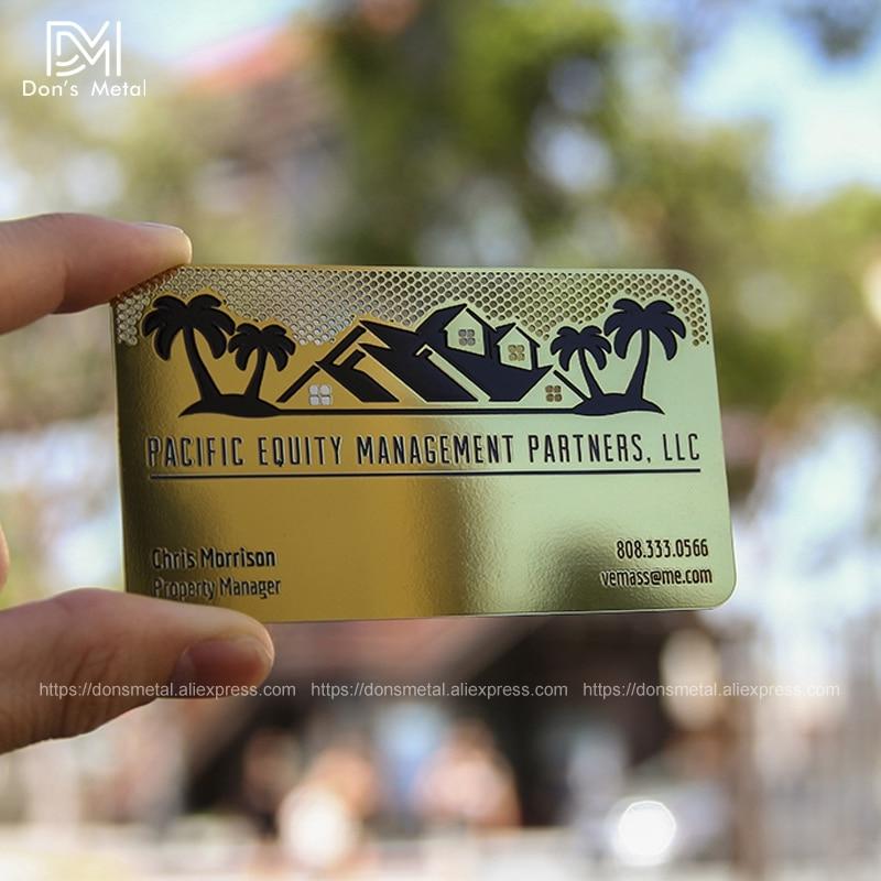 Plating gold metal business card custom