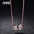 IYOE Trendy Style 14mm Circles Crystal Necklaces & Pendants Rose Gold Plated Jewelry Women Wedding Charm Necklace Collier Femme