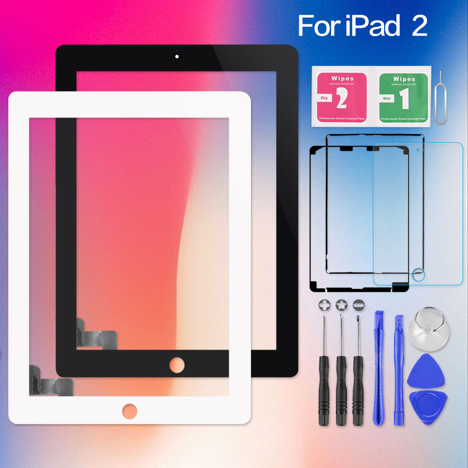 9.7 For iPad 2 iPad2 A1395 A1396 A1397 Touch Screen Digitizer Sensor Glass Panel + Home Button Frame Bezel Replacement Aparts