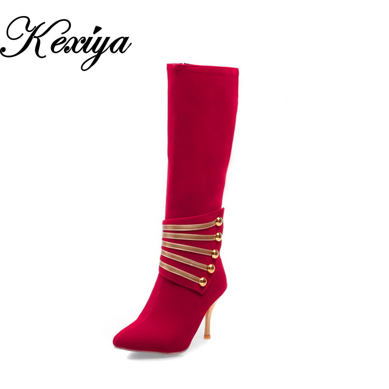 Plus size 32-45 fashion winter women shoes sexy Pointed Toe red high heels Mixed Colors flock Knee High boots small size 32 33 flock women flats 2017 pointed toe ladies single shoes fashion shallow casual shoes plus size 40 43 small yards 33 sapatos