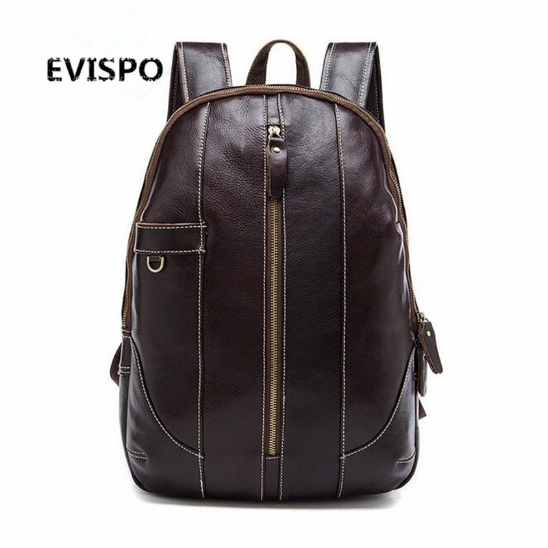 EVISPO High Quality Genuine Leather Backpack Fashion Men Travel Bags School Bag Brand Design Fashion Leather Backpacks 2017 NEW high quality pu leather backpack women bag fashion solid backpacks school bags famous brand travel backpack 2017 new shell bags