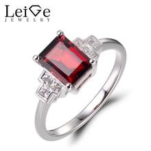 Leige Jewelry Natural Red Garnet Rings Promise Rings January Birthstone Emerald Cut Gems Solid 925 Sterling Silver Elegant Rings