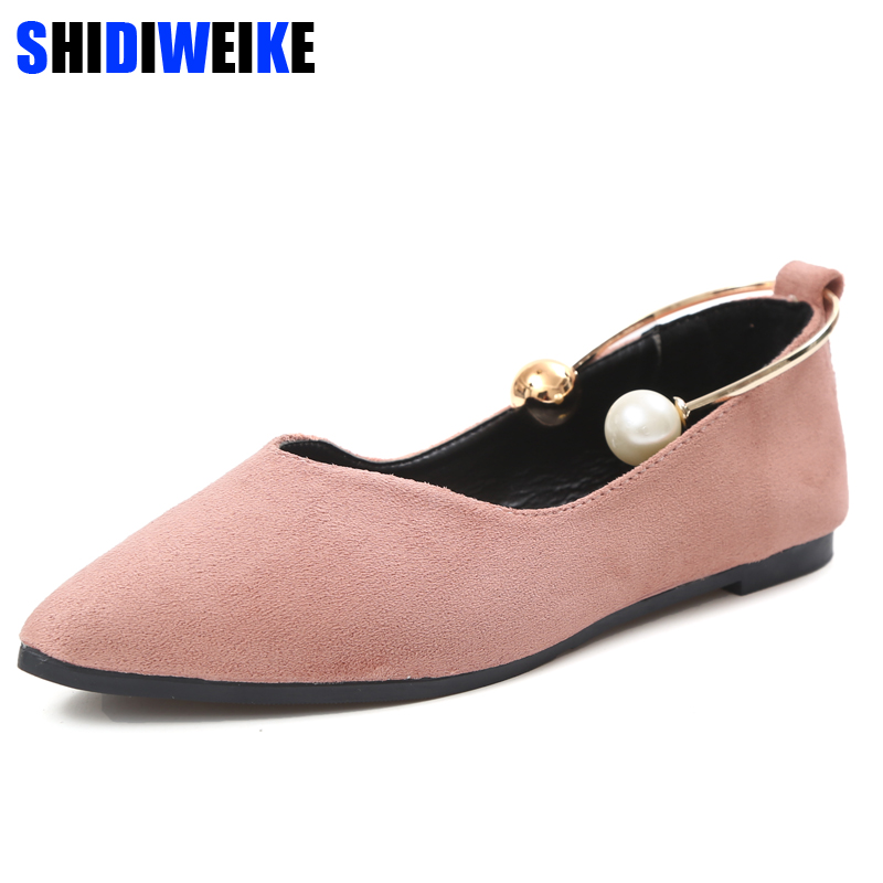 2018 New Women Suede Flats shoes Fashion Basic Pointy Toe Ballerina Ballet Flat Slip On women Shoes M841 2018 new women flats fashion soft bottom diamond pointy toe ballerina ballet flat slip on women shoes b201