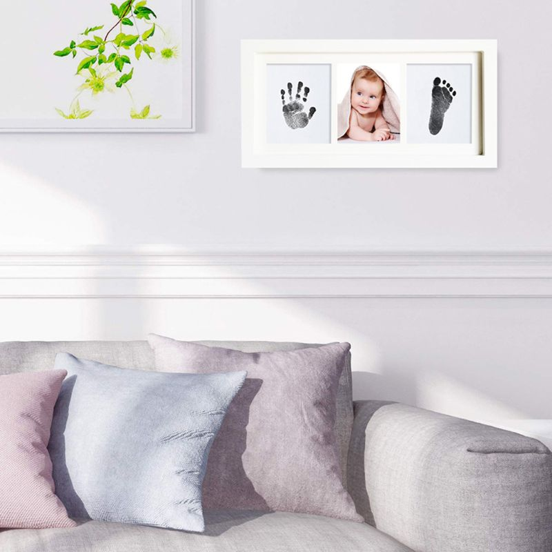 Baby Handprint Kit & Footprint Photo Frame For Newborn Girls And Boys Unique Baby Shower Gifts Set Memorable Keepsake Box Decora