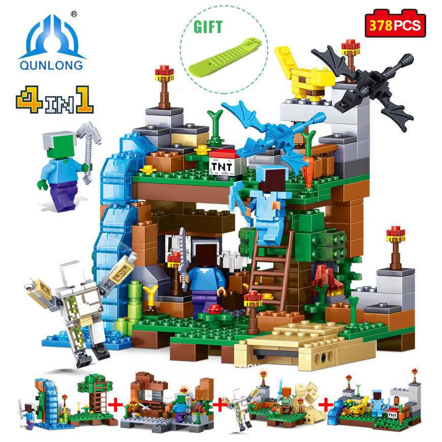 Qunlong Toy Minecrafted Figures Building Blocks 4 in 1 DIY Garden Bricks Toy Gift For Kid Compatible With Legoe Minecraft City plants vs zombies garden maze struck game building blocks bricks like figures minecraft toys for children gift b11