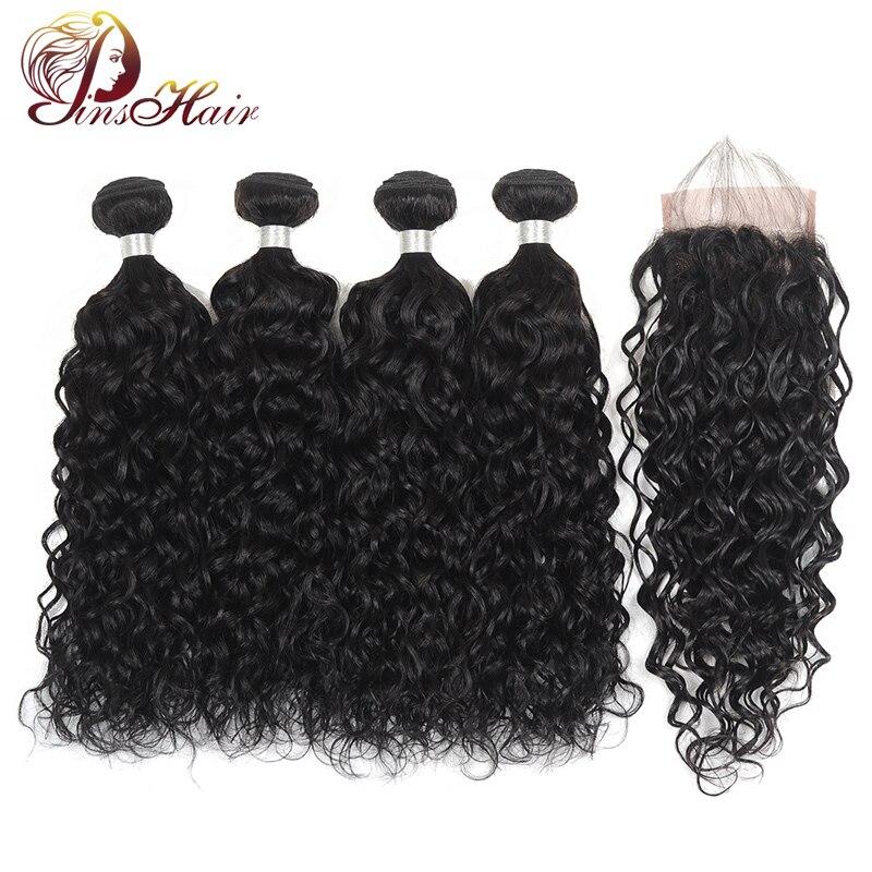Pinshair Brazilian Hair Water Wave Bundles With Closure Human Hair Extensions Natural Color Non Remy Hair 4 Bundles With Closure