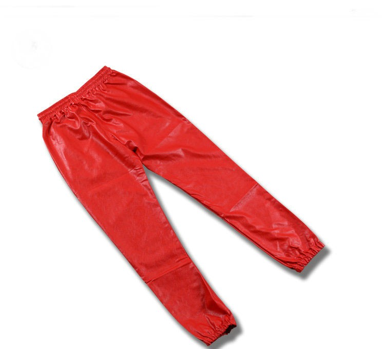 PU Leather Pants Men Elastic Waist Plus Size Side Zipper Hip Hop Leather Trousers Fashion Kanye West Justin Bieber Style Pants (8)