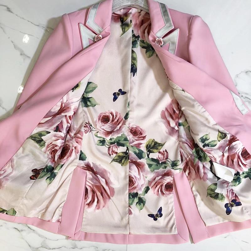 pfe Floral Futter Frauen Herbst Kleidung 2018 Runway Rosa Designer Langarm Winter Kn Outdoor Jacke Mode Mantel b67IfgyYv