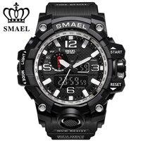 New Style Chronograph Sports Military Watches Shock Luxury Brand SMAEL Analog Quartz Dual Display Men S