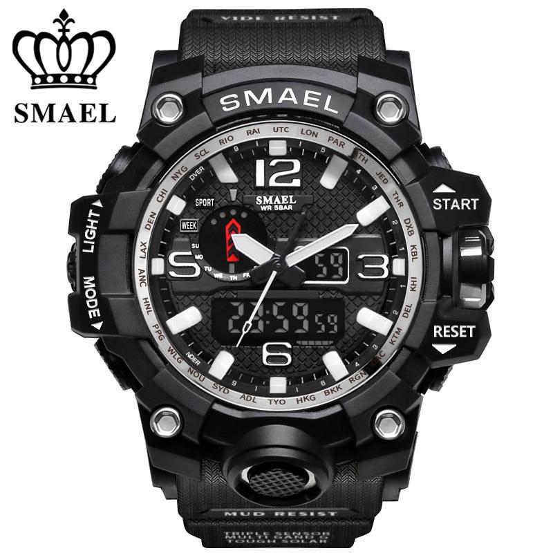 סגנון חדש Chronograph ספורט שעונים צבאיים הלם יוקרה מותג SMAEL אנלוגי קוורץ תצוגה כפולה שעון גברים Waterproof Waterproof