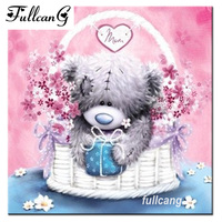 FULLCANG 5D Diamond Embroidery Cartoon Bear Doll Diamond Painting Cross Stitch Full Square Mosaic Diamond Pattern