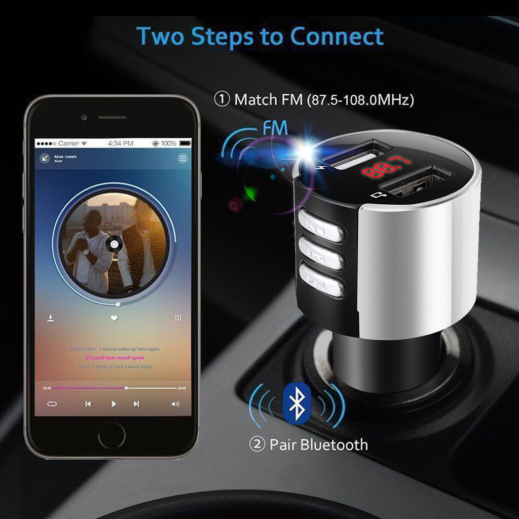Car Kit Bluetooth 3.0 Handsfree Wireless FM Transmitter LCD MP3 Player USB Charger 3.4A Car Accessories Dropshipping