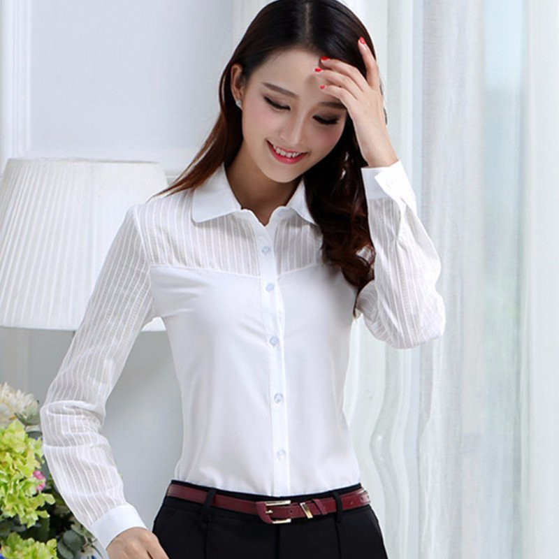 HTB1yULtNpXXXXXZaFXXq6xXFXXXk - FREE SHIPPING White Blouse Shirt Women Work Wear Long Sleeve JKP092