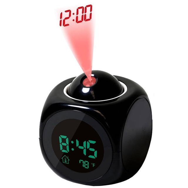 LCD Projection Clock Electronic Table Desk Nixie Digital Clock No Radio Projector Watch Talking Alarm Clock With Time Projection