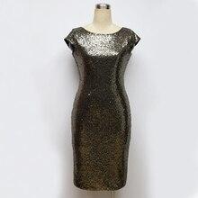 2017 Women Sequined Dress Beads Party Dress Sexy Club Night Dress Lady Slim Evening Party Knee Dress XXL