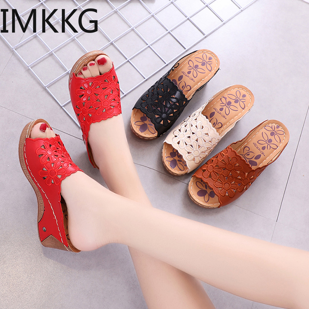 Sandals Hollow-Out Shoes Wedges High-Heels Roman-Style Peep-Toe Casual Fashion Women's