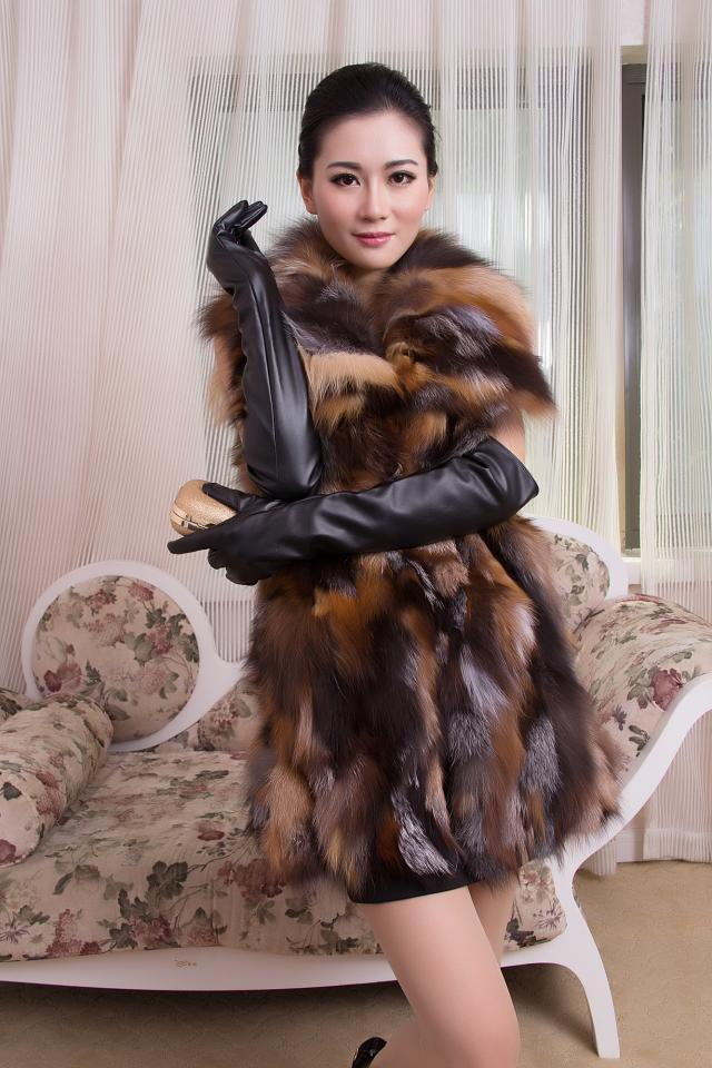 Women New Arrival Real Fox Fur Coat Genuine Natural Fox Leopard Fur Jacket For Colete Coat  Free Shipping DFP302