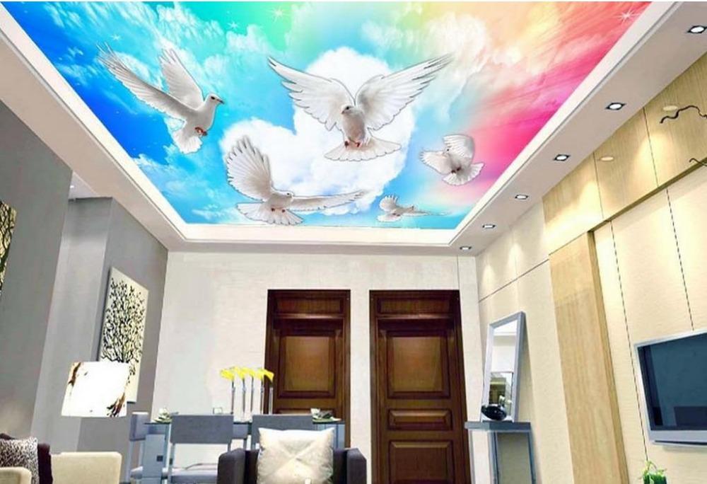 Benutzerdefinierte 3d Schalldichte Decke Wandbilder Kostenloser Zu Fliegen Luxus Tapete Fr Badezimmer