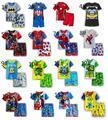 Летние Мальчики Пижамы Супермен Человек-Паук Пижамы Набор Хлопка Пижамы 2-7 Лет Детская Одежда