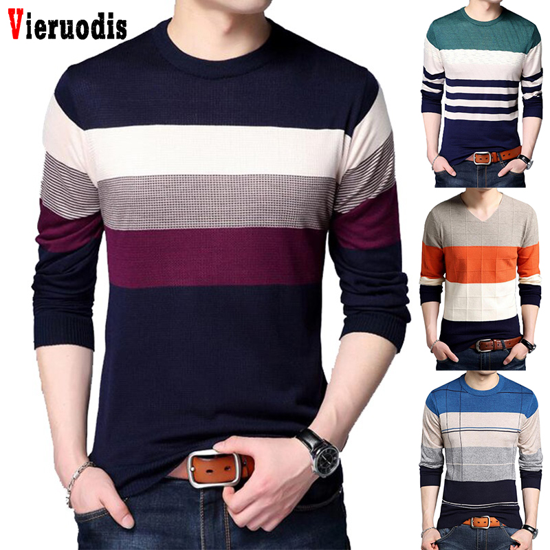 2019 Spring Autumn Winter Pullover Men Brand Clothing Jersey Clothing Knitwear Sweater Men Casual Striped Pull Slim Fit Men