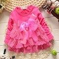 2015 новых осенью мода кружева детские бабьем девушки кружевном платье с бантом младенцы ну вечеринку платья MT170