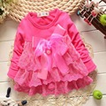 2015 New  Autumn Fashion Lace Baby Babi Girls Lace Dress Bow Infants Party Dresses MT170