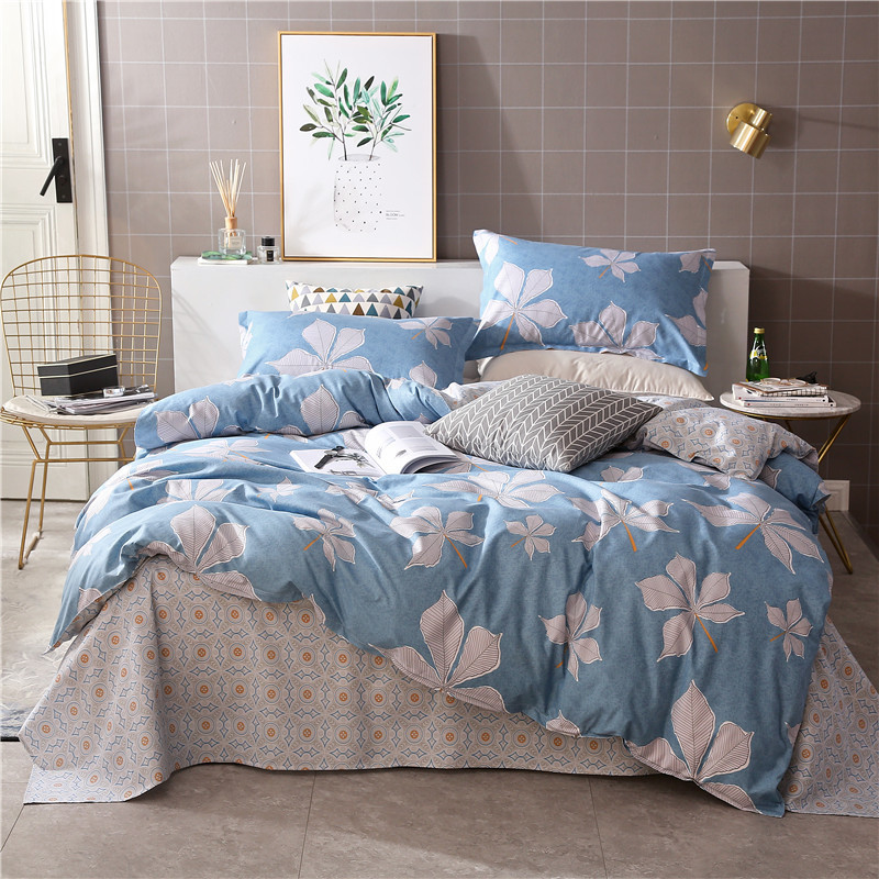 Solstice Home Textile King Queen Full Twin Bedding Sets Girls Kid Teen Blue Flower Linen Duvet Quilt Cover Pillowcases Bed Sheet