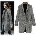 Элегантный Зимняя Шерсть Женщины Пальто Плюс Размер Серый Теплый Хлопок Дамы С Длинными Пальто