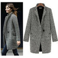 Elegant Winter Wool Women Coats Plus Size Grey Warm Cotton Ladies Long Overcoat