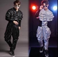 Personality mens shirts fashion stage sequins clothes men shirt long sleeve slim fit men shirts singer star style dress