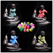 The Little Kung Fu Monk Censer and Small Buddha Burner Backflow Stick Incense Burner Purple Clay Censer Home Decor Yoga Teahouse(China)