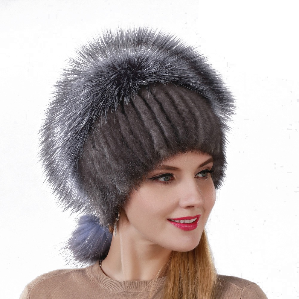 ddd9ceab New Design Fashion Hat Real Natural Mink Fur Hat With Silver Fox Fur Cap  For Women