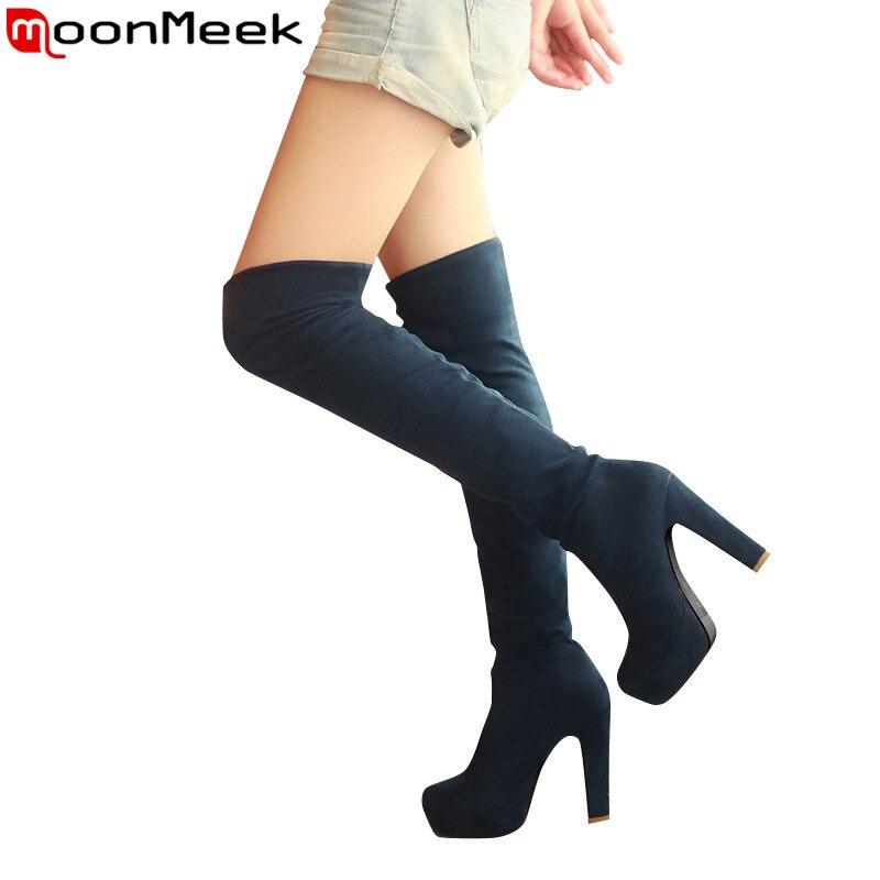 MoonMeek Plus La taille 34-46 nouveau mode plate-forme sur le genou bottes épais haute talons bout rond cuissardes hiver de longues bottes en daim